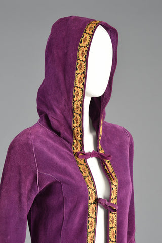 60s Bohemian Purple Suede Hooded Jacket w/Tapestry Trim