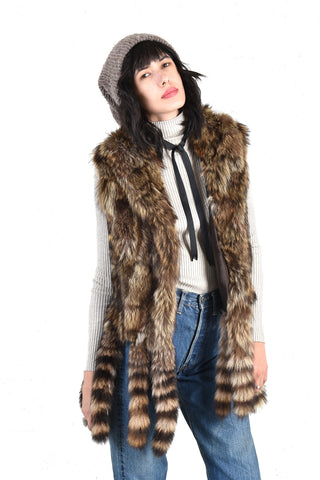 Carmella Raccoon Fur Vest with Fringe Tails