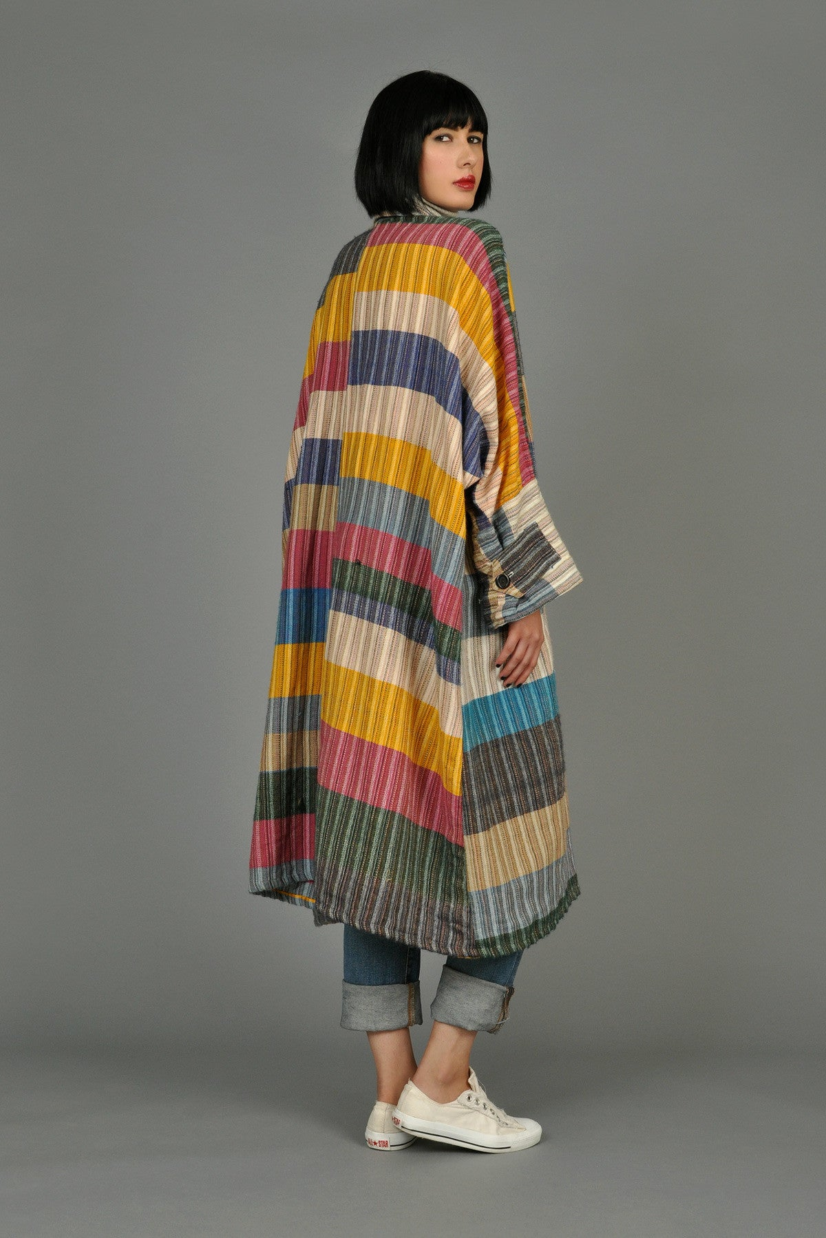 Colorblocked Super Draped Ethnic Jacket Bustown Modern