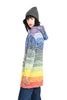 Raizy 1970s Rainbow Striped Hooded Cardigan
