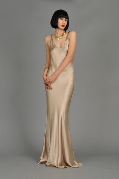Ralph Lauren Collection Golden Silk Evening Gown
