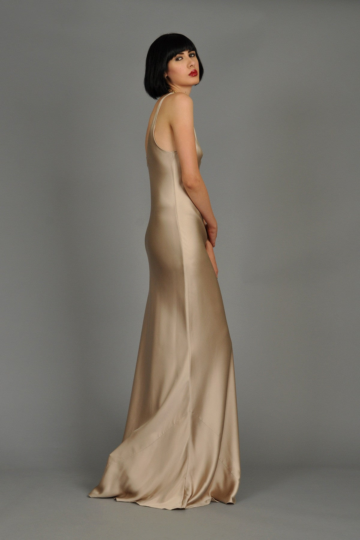 Ralph Lauren Collection Golden Silk Evening Gown | BUSTOWN MODERN