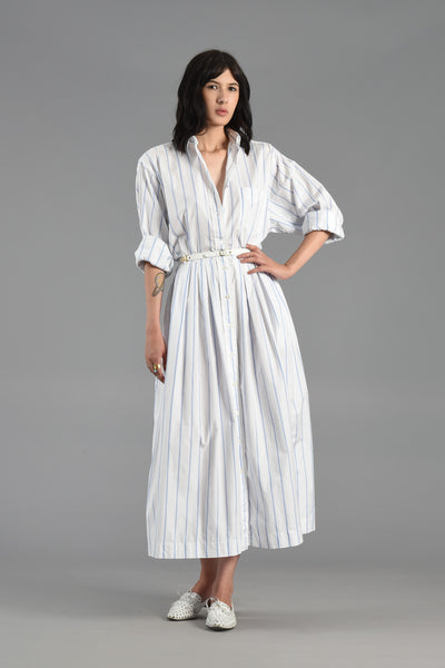 Polo Ralph Lauren White and Blue Striped Cotton Dress