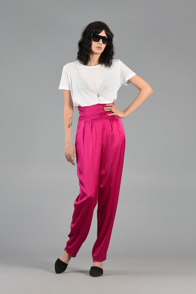 Super High Waisted Raspberry Sateen Trousers