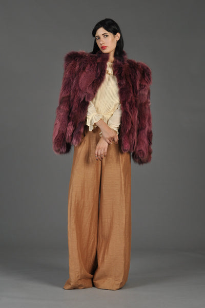 Raspberry Colored Cropped Fox Fur Coat