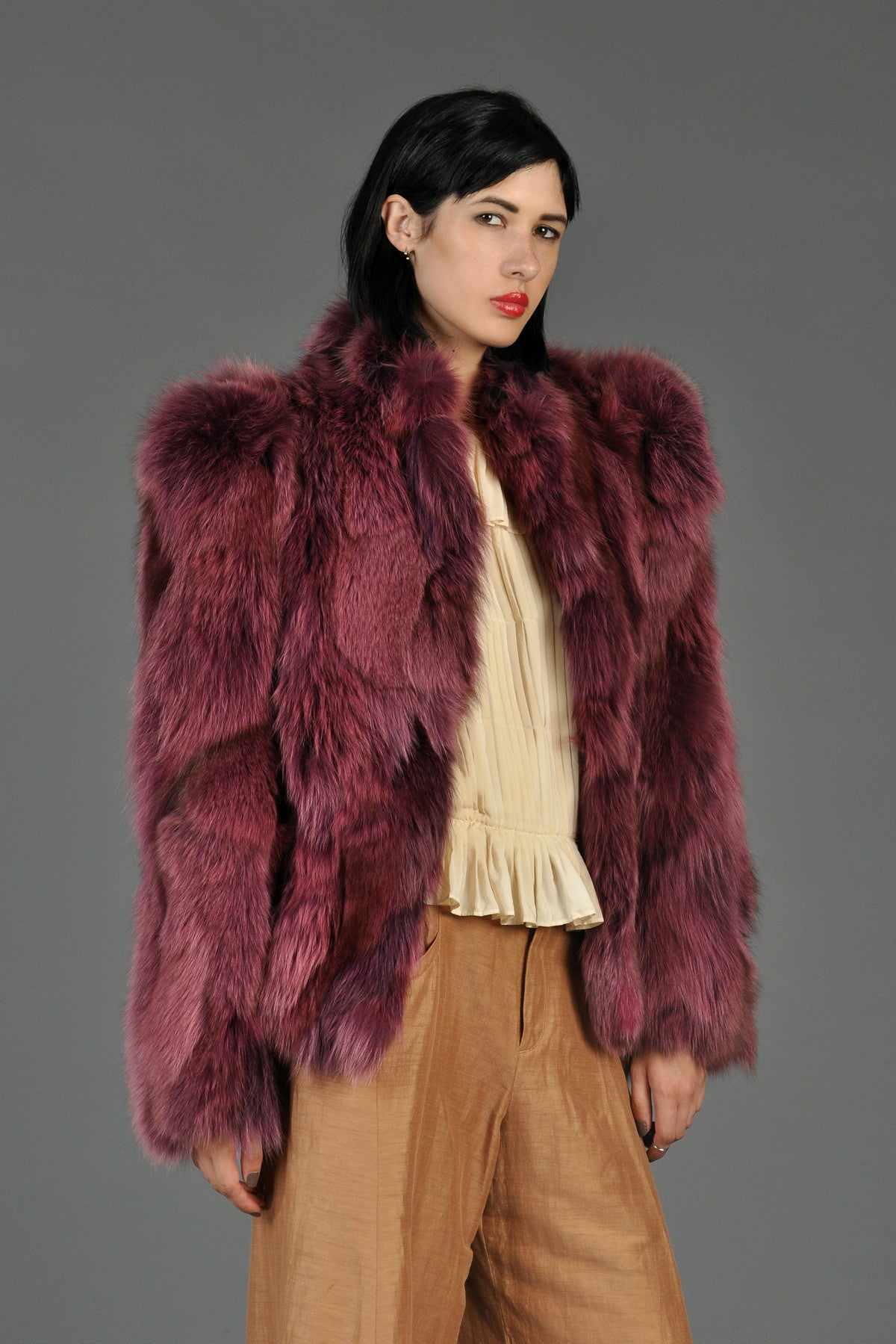 raspberry colored cropped fox fur coat  bustown modern - raspberry colored cropped fox fur coat
