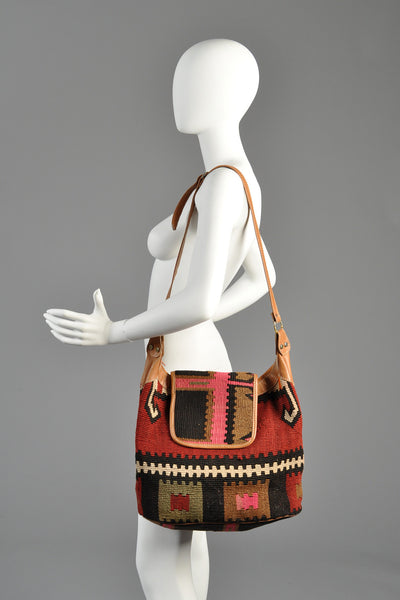 Massive Woven Kilim + Leather Bag