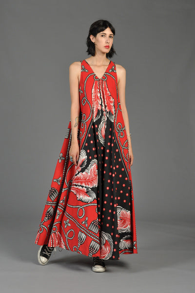 Graphic Feather + Tassel Print Maxi Tent Dress