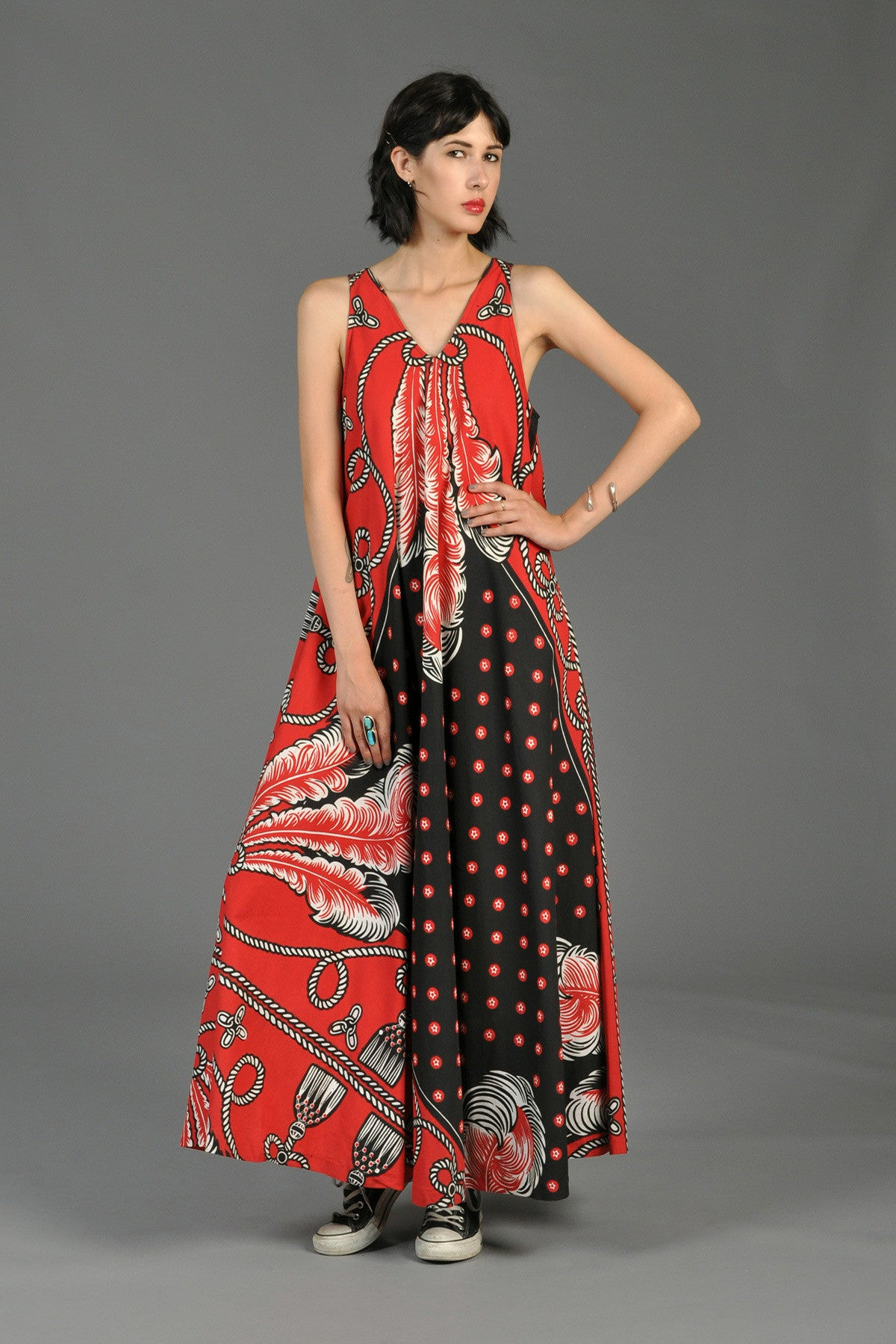 Graphic Feather Tassel Print Maxi Tent Dress Bustown