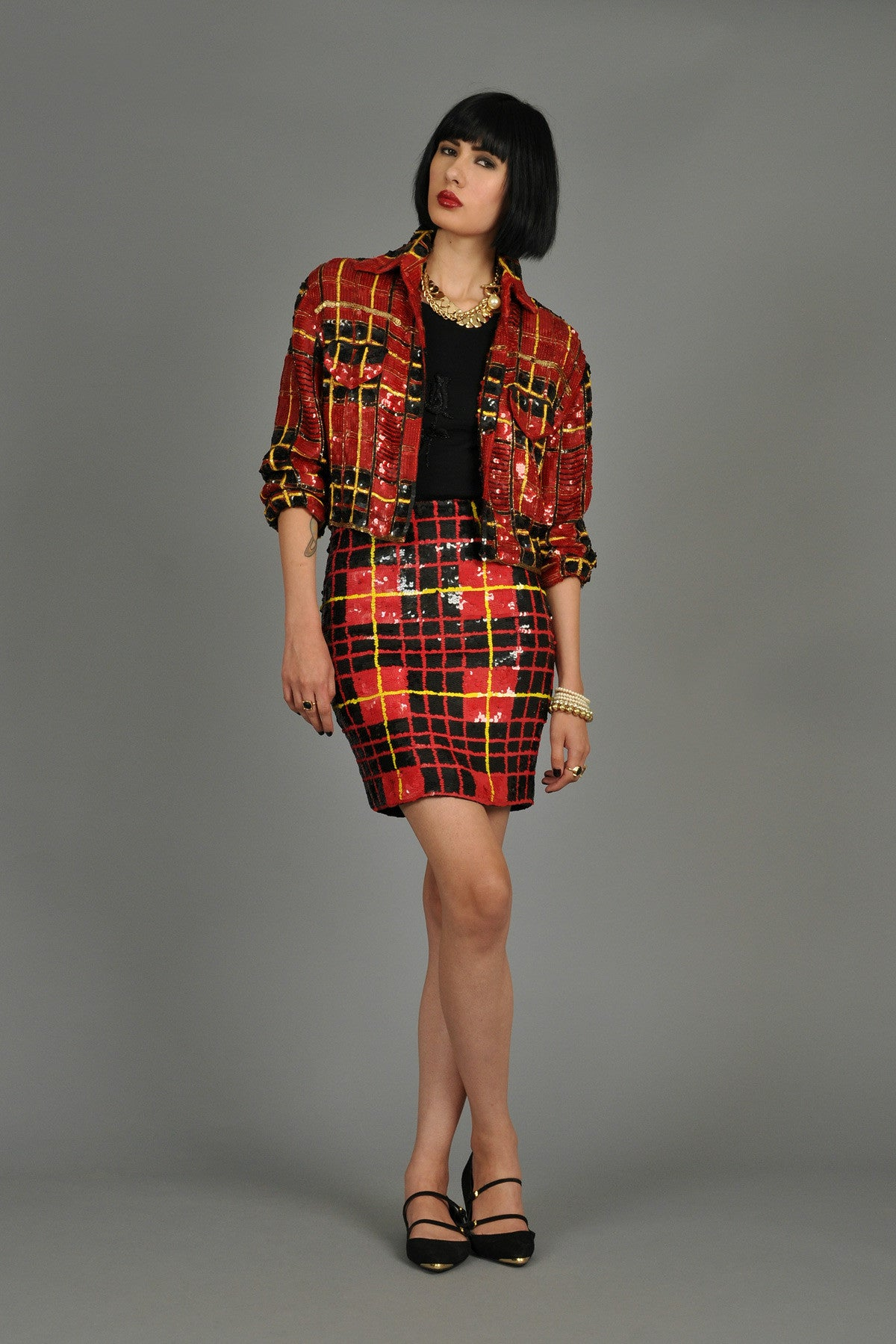 1990s Sequin Encrusted Plaid Skirt Suit Bustown Modern