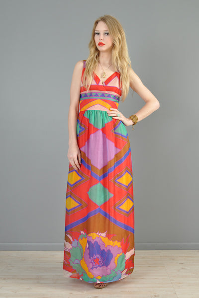 Rainbow Color Blocked 1970s Silk Flower Gown