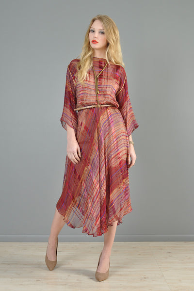 Sheer 1970s Metallic Stripe Silk Kimono Dress