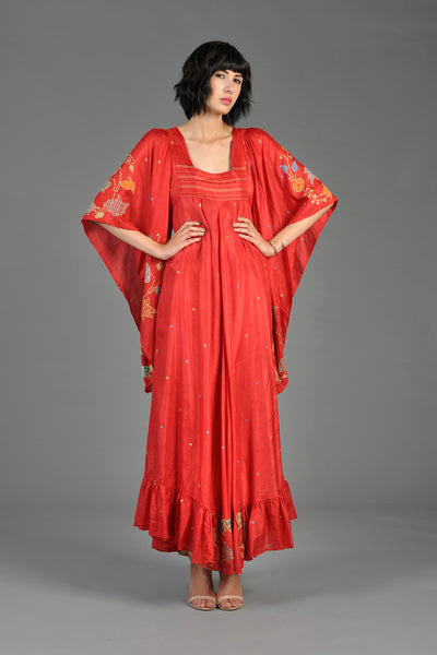 70s Embroidered Silk Ethnic Angel Sleeve Maxi Dress
