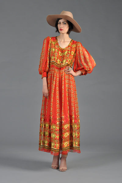 1970s Indian Silk Maxi Dress w/Blouson Sleeves