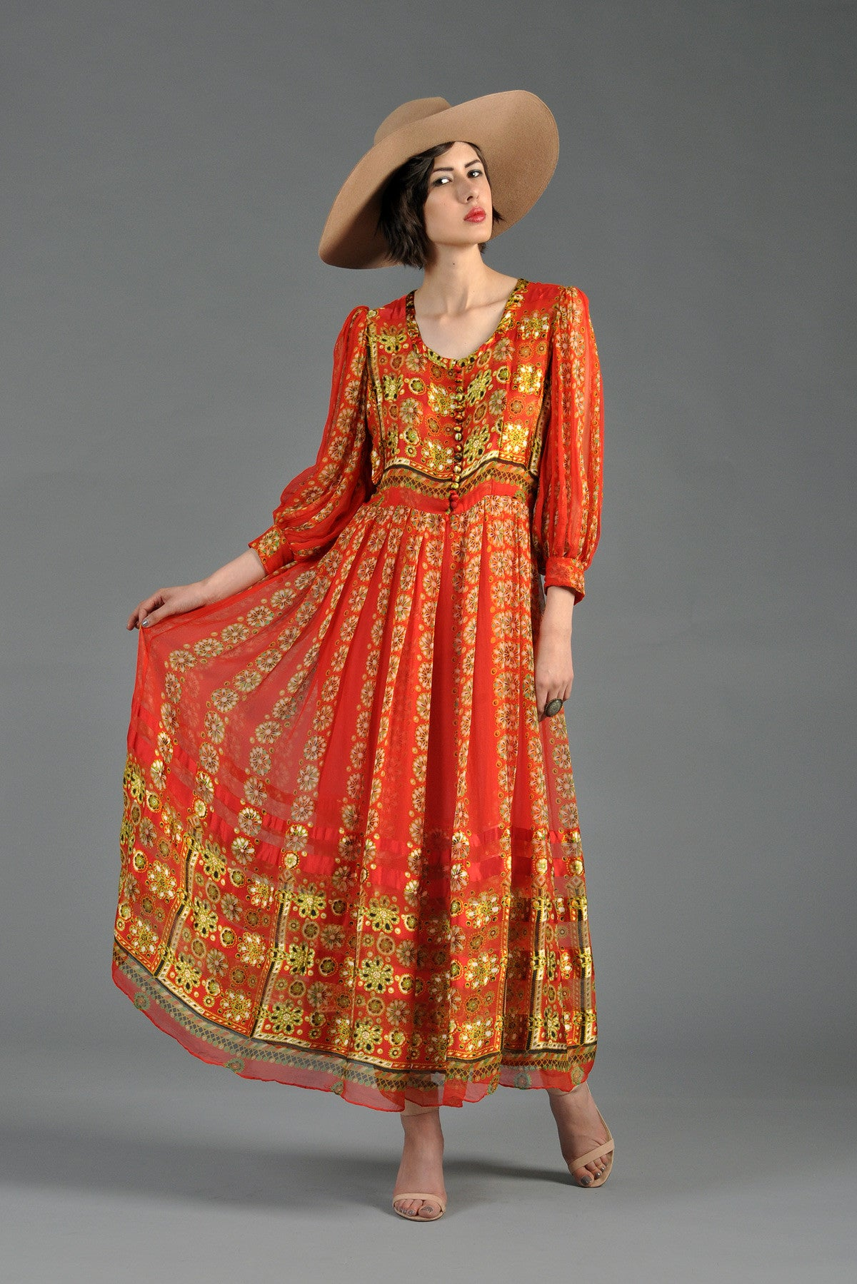 1970s Indian Silk Maxi Dress w/Blouson Sleeves | BUSTOWN ...