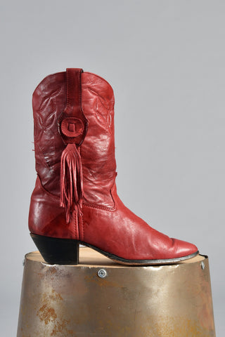 Red Fringe Tassel Leather Cowboy Boots 8