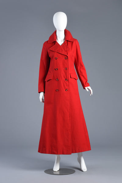 Supermodel Length 1970s Cherry Red Flared Trench Coat