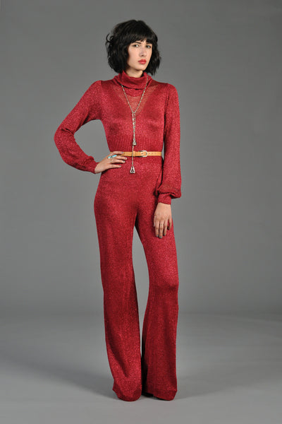Red Metallic Knit Longsleeve Turtleneck Jumpsuit