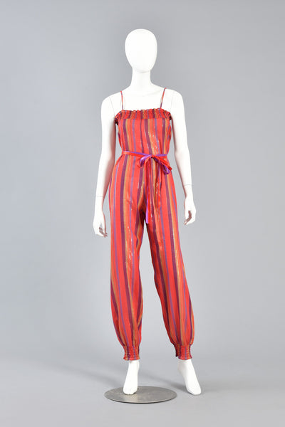 70s Ethnic Stripe Cotton Gauze Jumpsuit w/Lurex Threads