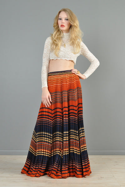 High-Waisted 1970s Pleated Gauze Maxi Skirt