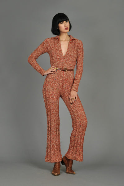 Rusty Cable Knit Wool Jumpsuit