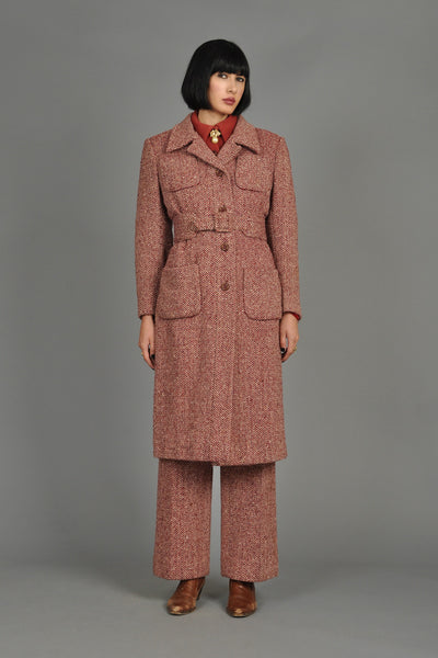 1970s 3-Piece Tweed Jumpsuit + Coat Ensemble