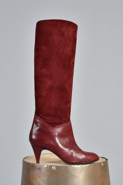 Oxblood Leather + Suede Boots with Embroidered Diamonds