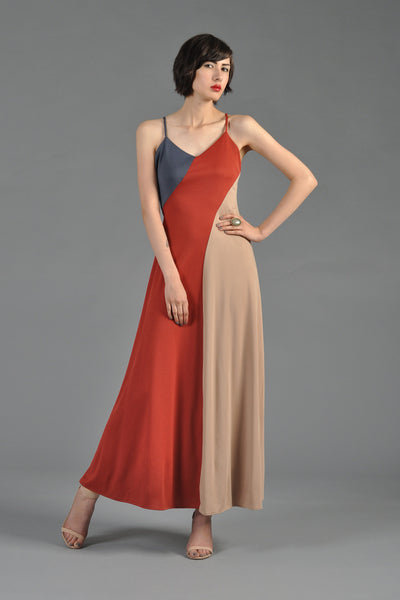 Colorblocked 70s Bias Maxi Dress
