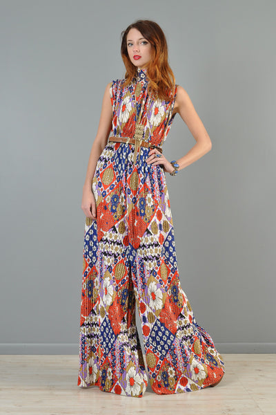 1960s Pleated Palazzo Leg Floral Jumpsuit