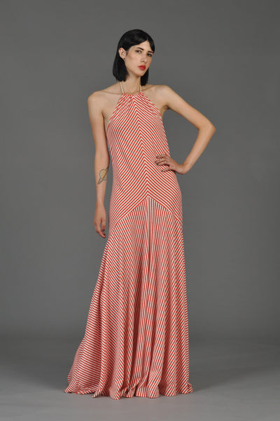 1960s Red + White Chevron Pinstriped Halter Gown