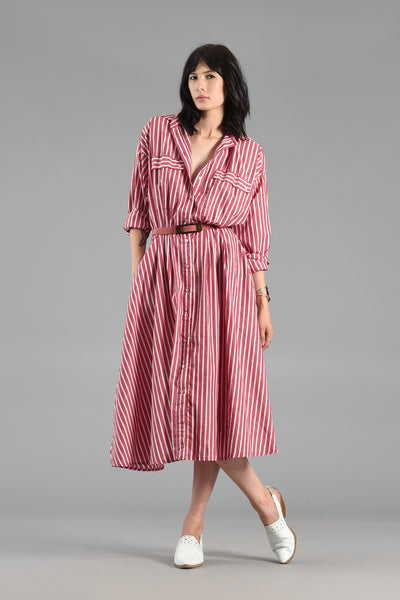 Classic Candy Cane Striped 1980s Cotton Shirt Dress