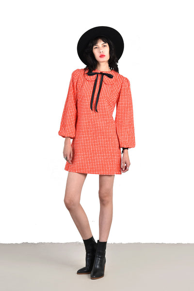 Yvette 1960s Bullseye Babydoll Mini Dress with Peter Pan Collar