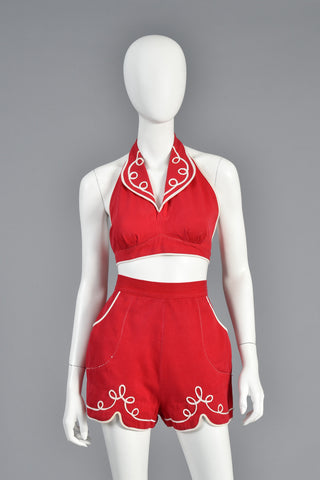 1940s 2 Piece Red Play Suit with White Trim