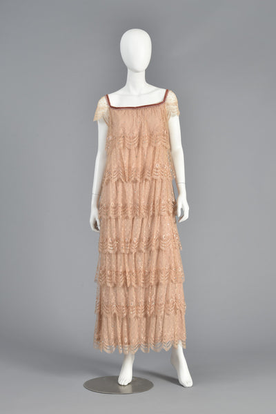 Ethereal 70s Tiered Lace Gown w/Rhinestone Accents