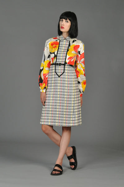 1960s Rodrigues Silk Floral Tweed Dress