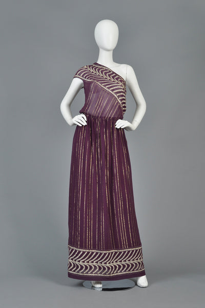 1970s Grecian Inspired Metallic Gauze One Shouldered Gown