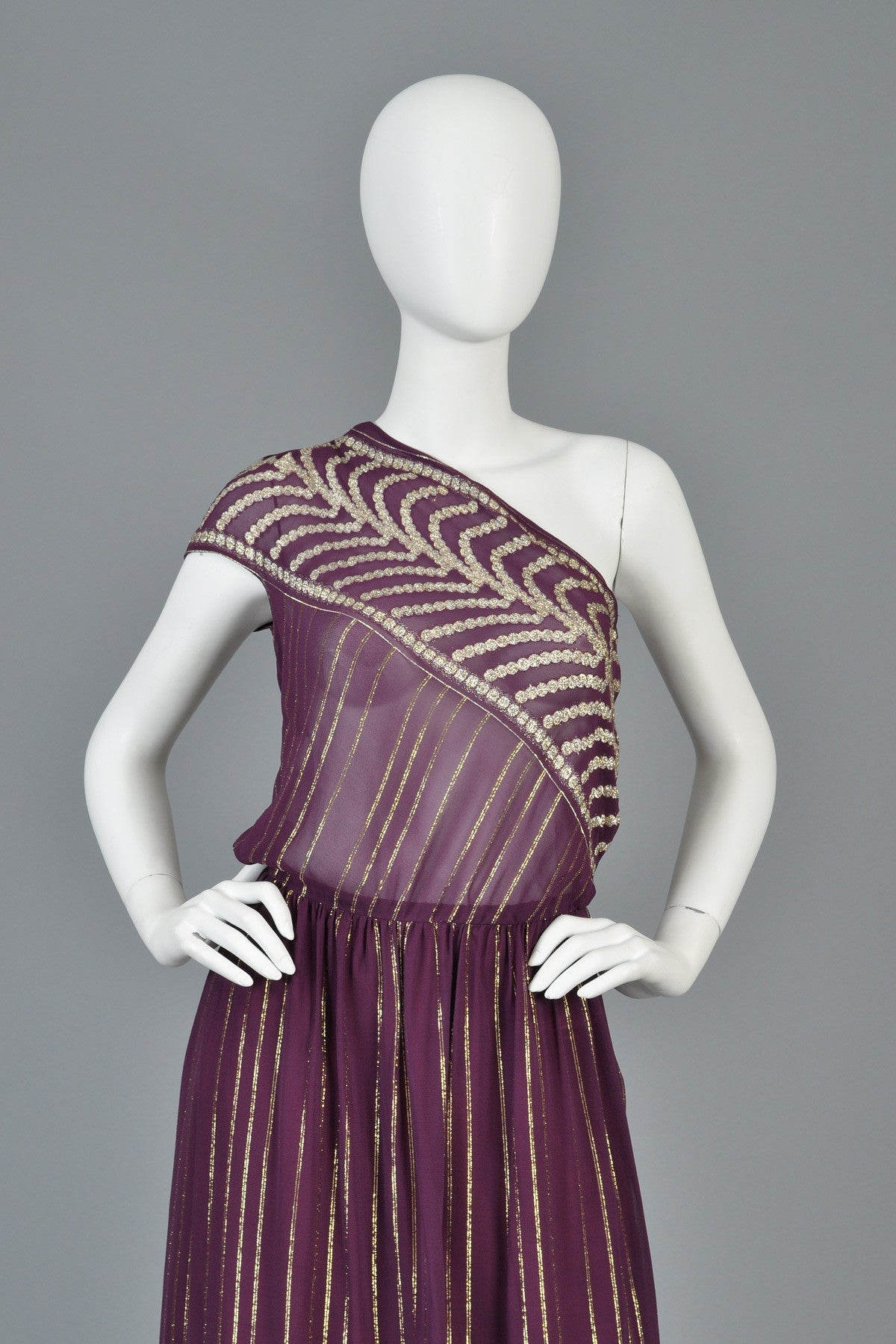 1970s Grecian Inspired Metallic Gauze One Shouldered Gown | BUSTOWN ...