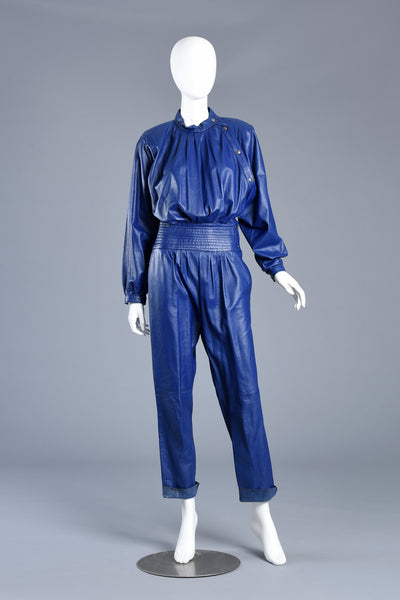 Killer 1980s Avant Garde Indigo Leather Jumpsuit