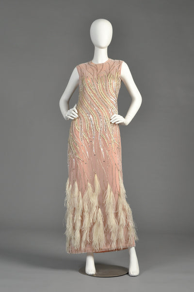 Ruben Panis Beaded Ostrich Feather Gown