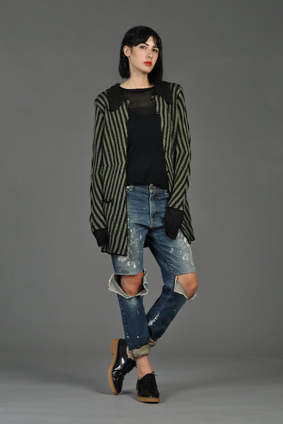 Sage + Black Graphic Striped Cardigan Sweater