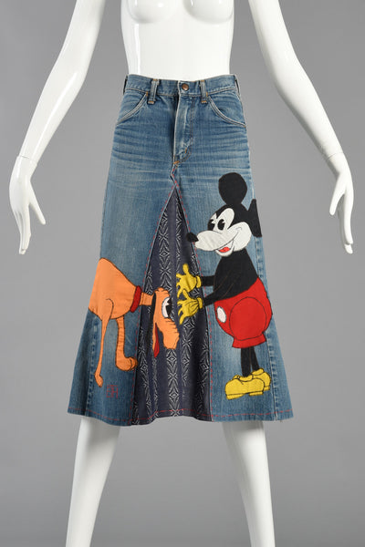 60s Serendipity 3 Graphic Mickey Mouse & Pluto Denim Skirt