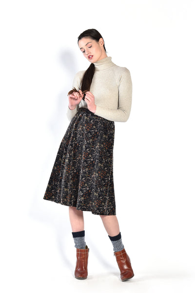 Sherry 70s Floral Velvet Wrap Skirt