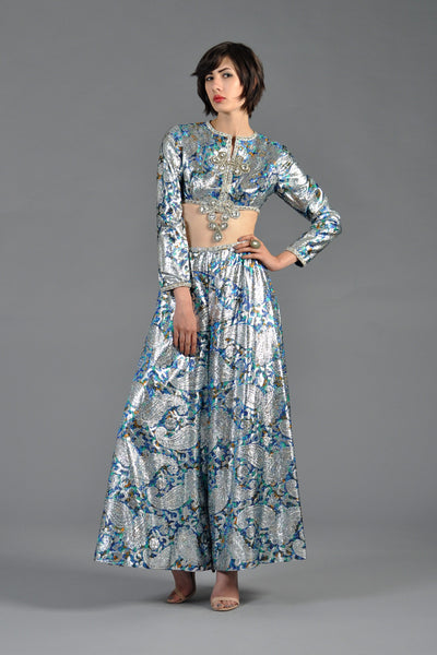 1960s Malcolm Starr Jeweled Brocade Crop Top + Palazzo Pant Ensemble
