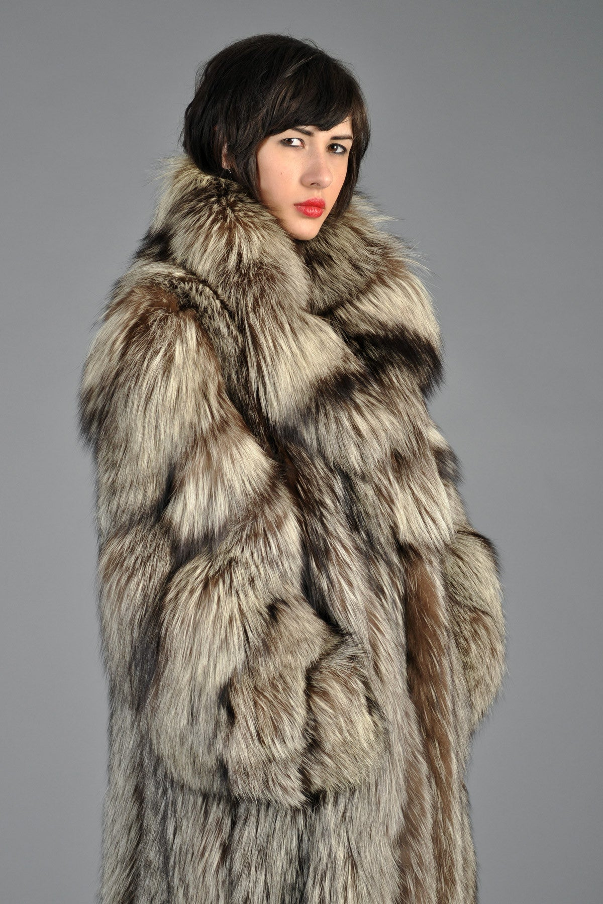 1980s Full Length Silver Fox Fur Coat | BUSTOWN MODERN