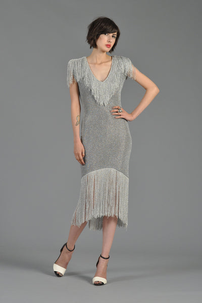 Metallic Silver Bodycon Knit Dress with Fringe