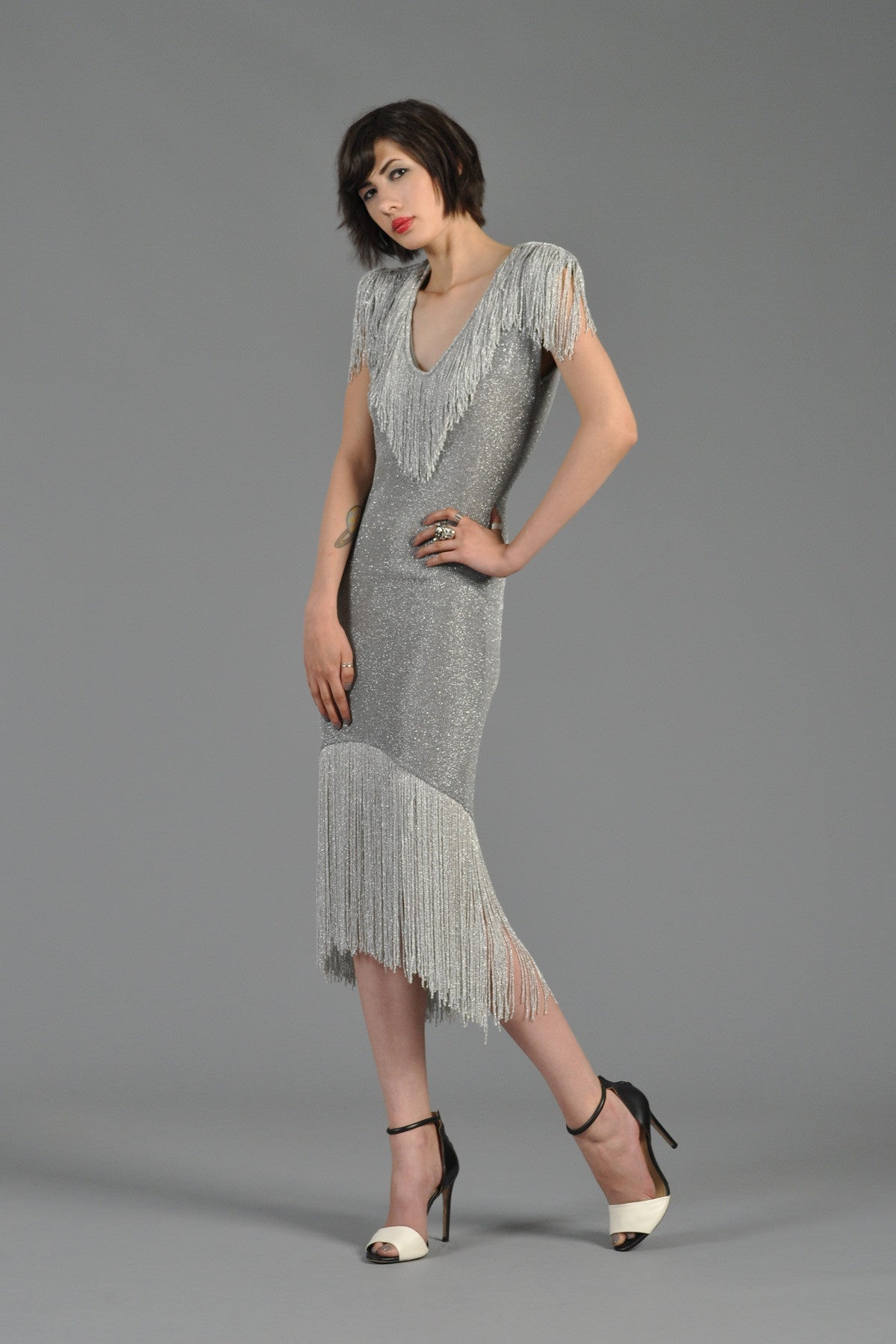 Metallic Silver Bodycon Knit Dress With Fringe Bustown