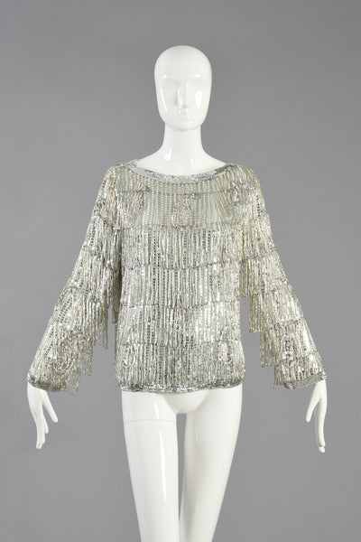 Art Deco Inspired Silk Top Dripping w/Beaded Fringe