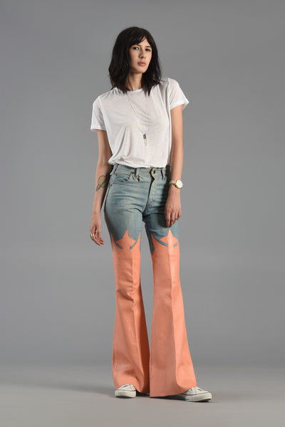 1970s Skin Clothes Denim + Leather Bell Bottoms