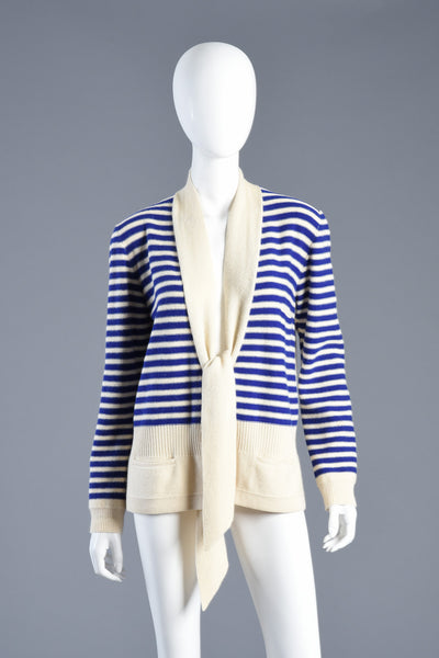 Sonia Rykiel Nautical Striped Knit Cardigan Sweater