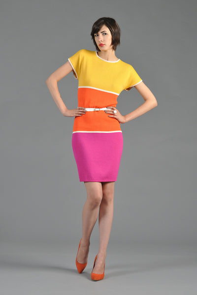 St John Colorblocked Rainbow Knit Dress